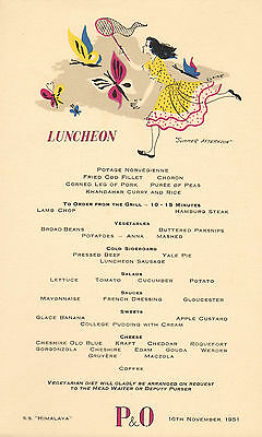 p & o - s.s. himalaya menu (  1951 ) luncheon ( summer afternoons )