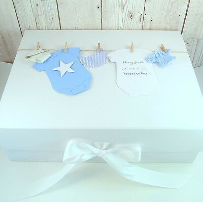 Baby Boy Personalised Washing Line Keepsake Box New Baby Christening Gift