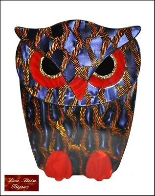 Superb French Signed Lea Stein Paris Owl Brooch Pin-Purplish Blue Red Gold Black