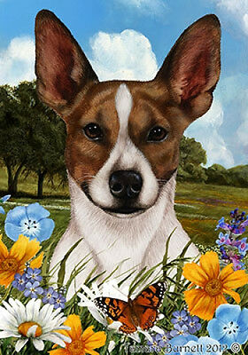 Garden Indoor/Outdoor Summer Flag - Rat Terrier (Brown) 181301