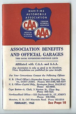 Old Feb 1965 Maritime Automobile Association CAA Benefits Booklet