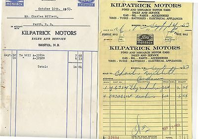 3 Old 1953 Letterheads Kilpatrick Motors Bristol New Brunswick Ford Monarch