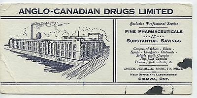 Old Vintage Advertising Blotter Anglo-American Drugs Oshawa
