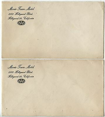 2 Old Advertising Envelopes Movie Town Motel Hollywood California