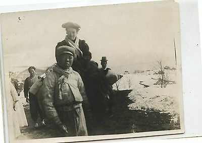 Old Vintage B/W Photo Canada First Nations Boy & Family Snow