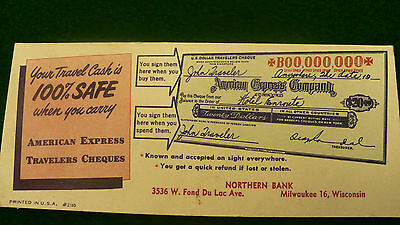 American Express Blotter card Northern Bank Milwaukee WI Travelers Cheques P201