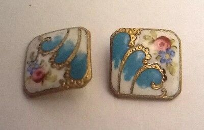 Stunning Pair Of Antique Victorian Floral Enamelled Buttons