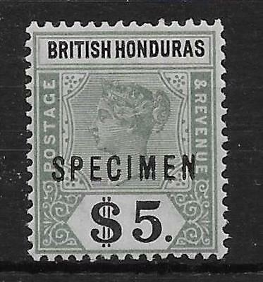 BRITISH HONDURAS SG65s 1899 $5 GREEN & BLACK SPECIMEN MTD MINT