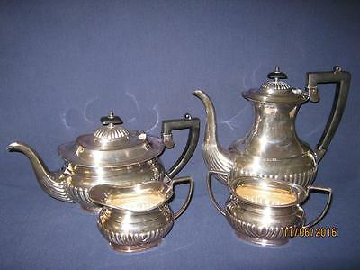 Sheffield Silverplate Art Deco Tea/coffee Pot Cream/sugar Bowl Set {Nice}