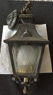 Vintage Brass Porch Ceiling Light Fixture Retro Glass Arts Crafts