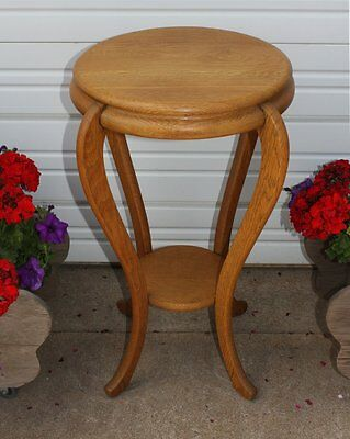 Antique Quarter Sawn Tiger Golden Oak Small Round Table Plant Stand Room Ready