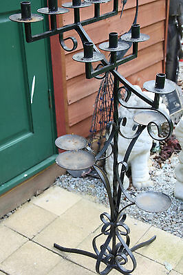 antique CHURCH CANDLE HOLDER floor standing HANDMADE WROUGHT IRON METAL SWIRLS