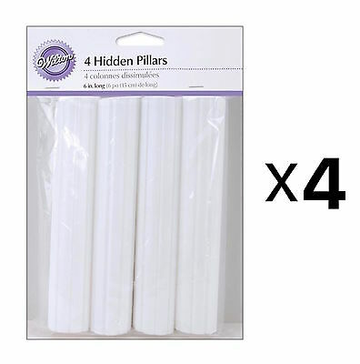 Wilton Hidden Cake Pillars White 6in Trimable Pack Of 4 Hollow Plastic (4-Pack)