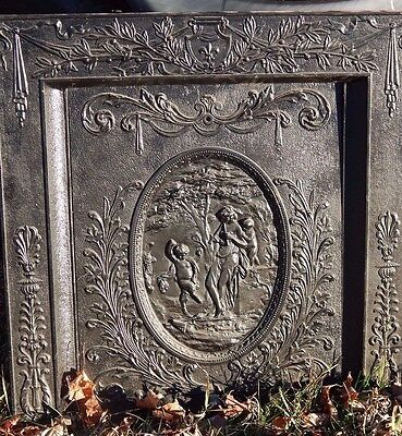 ANTIQUE Cast Iron FIREPLACE Cover & Surround Figural **Outstanding**