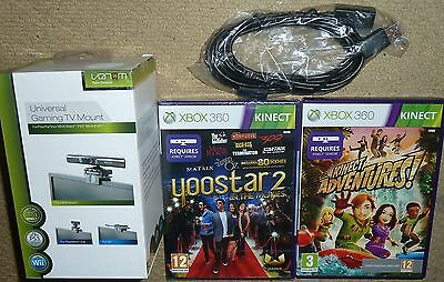 Kinect Adventures & Yoostar 2 Games + Tv Mount Extension Cable Lead - Xbox 360
