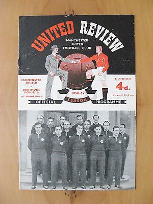 MANCHESTER UNITED v BORUSSIA DORTMUND European Cup 1956/1957 Exc Cond Programme