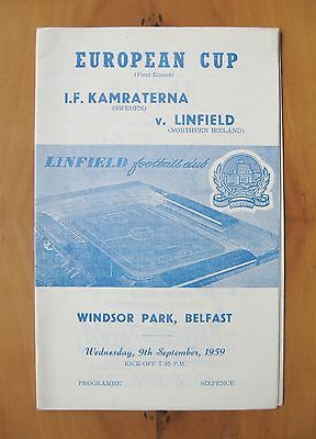 LINFIELD v IFK GOTHENBURG European Cup 1959/1960 *Exc Cond Football Programme*