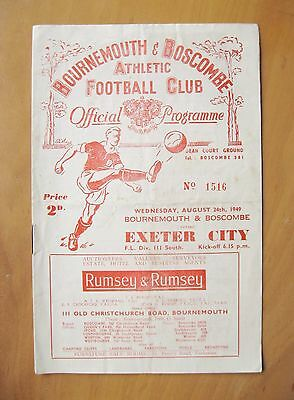 BOURNEMOUTH v EXETER CITY 1949/1950 *Good Condition Football Programme*