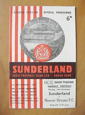 SUNDERLAND v MOSCOW DYNAMO Friendly 1955/1956 *Exc Condition Football Programme*
