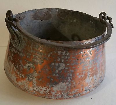 """Antique Ornate Hand Hammered Heavy Copper Deep Pot   Middle East  Syria 7 x 4"""""""