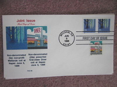 Wetlands & Diner Coils Joint Issue 1998  Scarce Riverdale Cachet Fdc