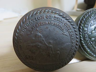 Antique 1800's Detroit Board of Education City of Detroit Door knobs