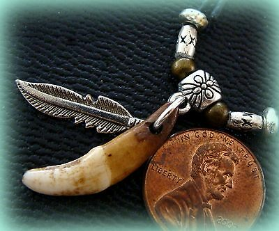 Indian look Small Tibetan WOLF TOOTH Teeth Pendant Jewelry- Metal FEATHER accent