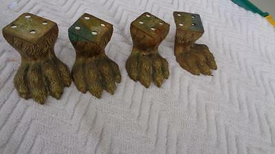 4 Antique Claw Feet 1.5 inches tall Mounting base 1.5 x1.5 Brass?