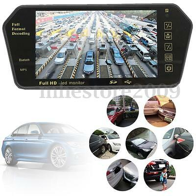 7''TFT LCD Bluetooth Car Rear View Parking Mirror Monitor With Reversing Camera