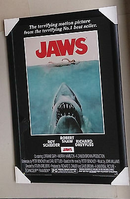 Jaws framed poster Giant great white shark Ready to hang Black wooden with glass