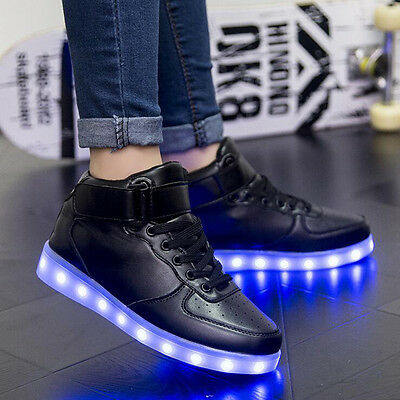 Unisex Light UP LED Shoes High Top 7 Colorful Glow shoe Casual Luminous Sneaker
