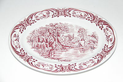 """Grindley Hotel Ware  Oval Red Platters  Scenes After Constable  10 1/2""""  Mint!"""