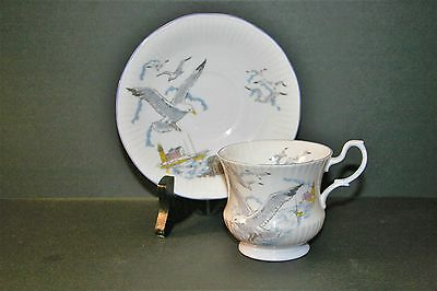 Queen's Rosina China Bone China SEAGULL Cup and Saucer SCALLOPED! Mint!