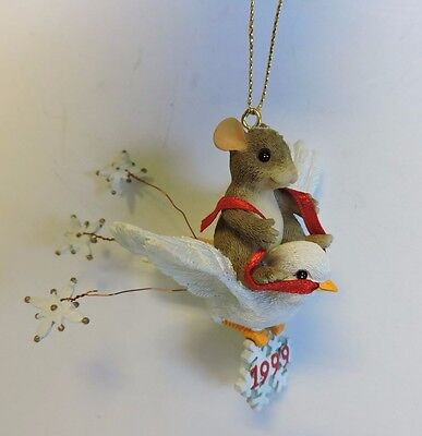 Dated 1999 Charming Tails Mouse Flying On White Dove Snowbird Ornament 86/797