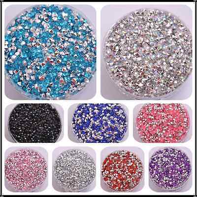 acrylic Flatback Rhinestone Faceted Gems pointed back Charms Jewelry 2MM-5MM