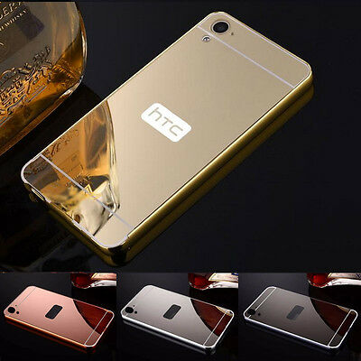 Luxury Aluminum Ultra-Thin Mirror Metal Bumper PC Back Case Cover For HTC Phones