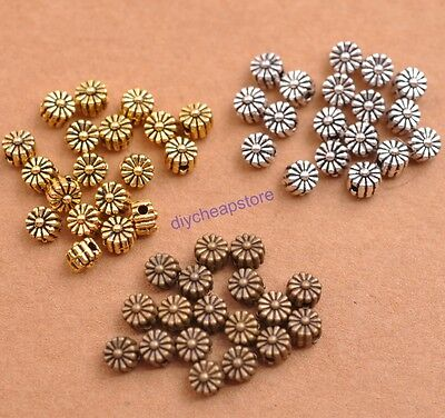 100PCS Tibetan Silver TIBETAN DAISY FLOWER Spacer Beads Charm Finding 5MM JK3115