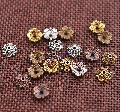 100PCS Tibetan Silver Flower Bead Caps Spacer beads Charm Findings 8MM JK3113