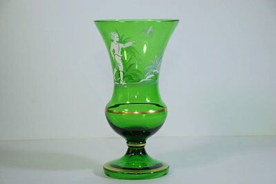 Antique Mary Gregory Large Emerald Green Vase