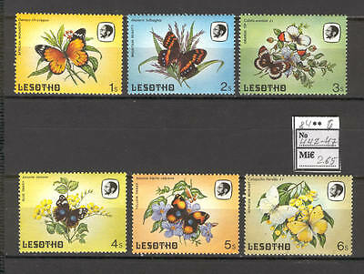 JAM F52 Lesotho 1984 MNH 6v Butterflies Insects Flowers