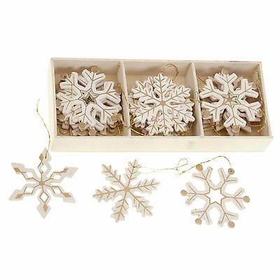 24 Lovely Cream & Gold Snowflake Christmas tree decorations (1)