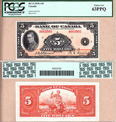 1935 $5 Bank of Canada Prince of Wales in PCGS Choice UNC63 PPQ.  BC-5