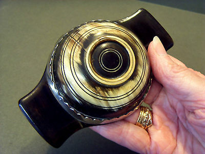 LATE 18th C SCOTTISH OX HORN QUAICH,TURNED & CARVED WITH SCOLLOPED SILVER BAND.