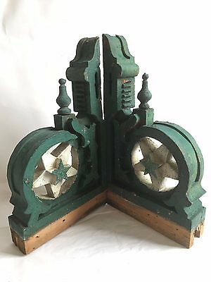 Antique Pair(2) 1890's Wood Corbels Brackets Stars Victorian Green/White RARE B