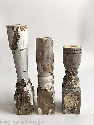 Three(3) RECLAIMED Wood Candlesticks SHABBY Candle Holders Antique White D8