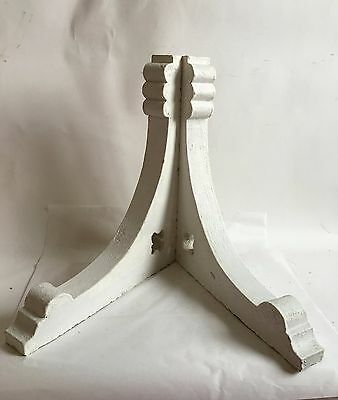 Antique Pair(2) 1890's Wood Corbels Brackets Clover Victorian Crusty White A