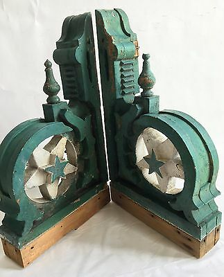 Antique Pair(2) 1890's Wood Corbels Brackets Stars Victorian Green/White RARE A