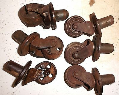 """4 Antique Cast Iron Furniture Industrial Machinery Casters 1 3/4"""" Wheels"""