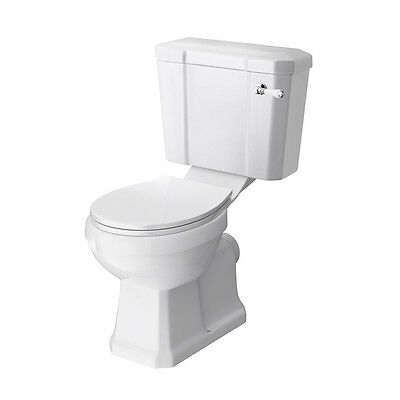 Closed Coupled Traditional Bathroom Toilet WC & Seat White Ceramic Pan Cistern