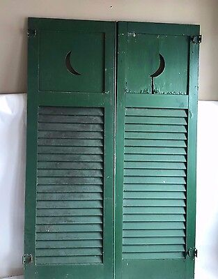 2 Pair Antique Crescent Moon Louvered Shutters  Shabby Cottage Vintage Green A